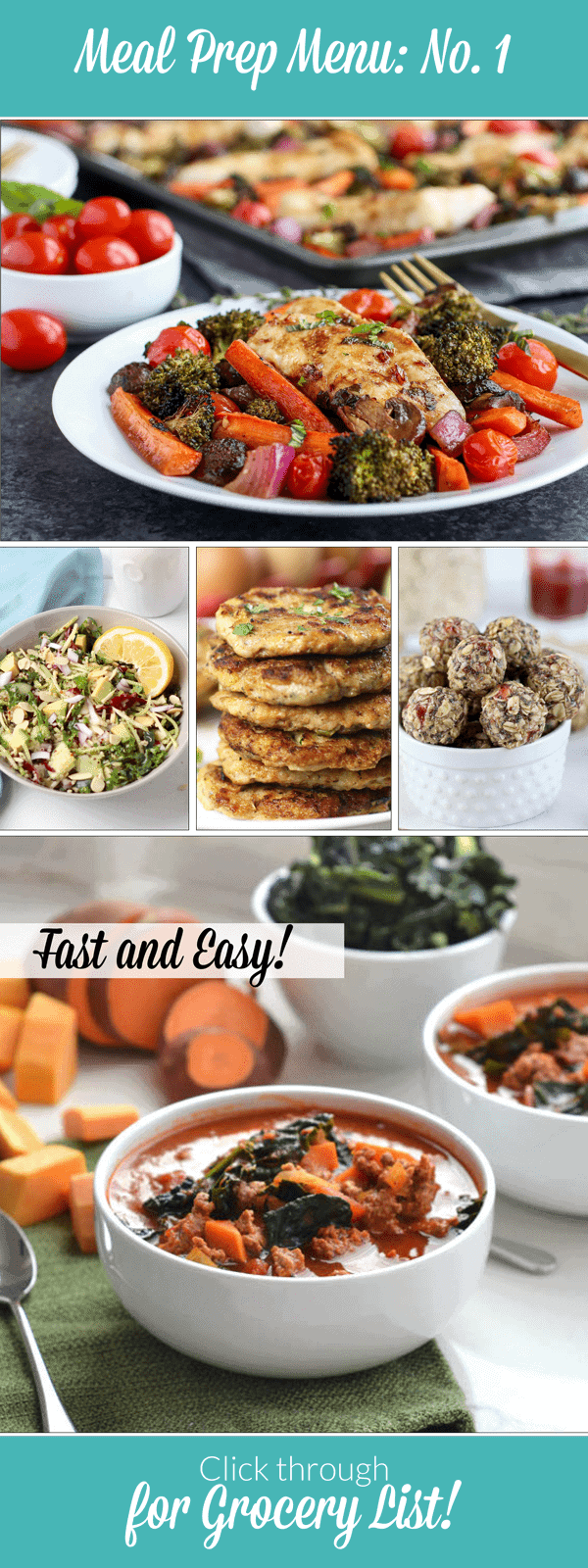 Weekly Meal Prep Menu: No. 1 featuring 5 fast and easy recipes you can make on the weekend. Gluten-free | Dairy-free | Family-friendly The Real Food Dietitians | http://therealfoodrds.com/weekly-meal-prep-menu-no-1/