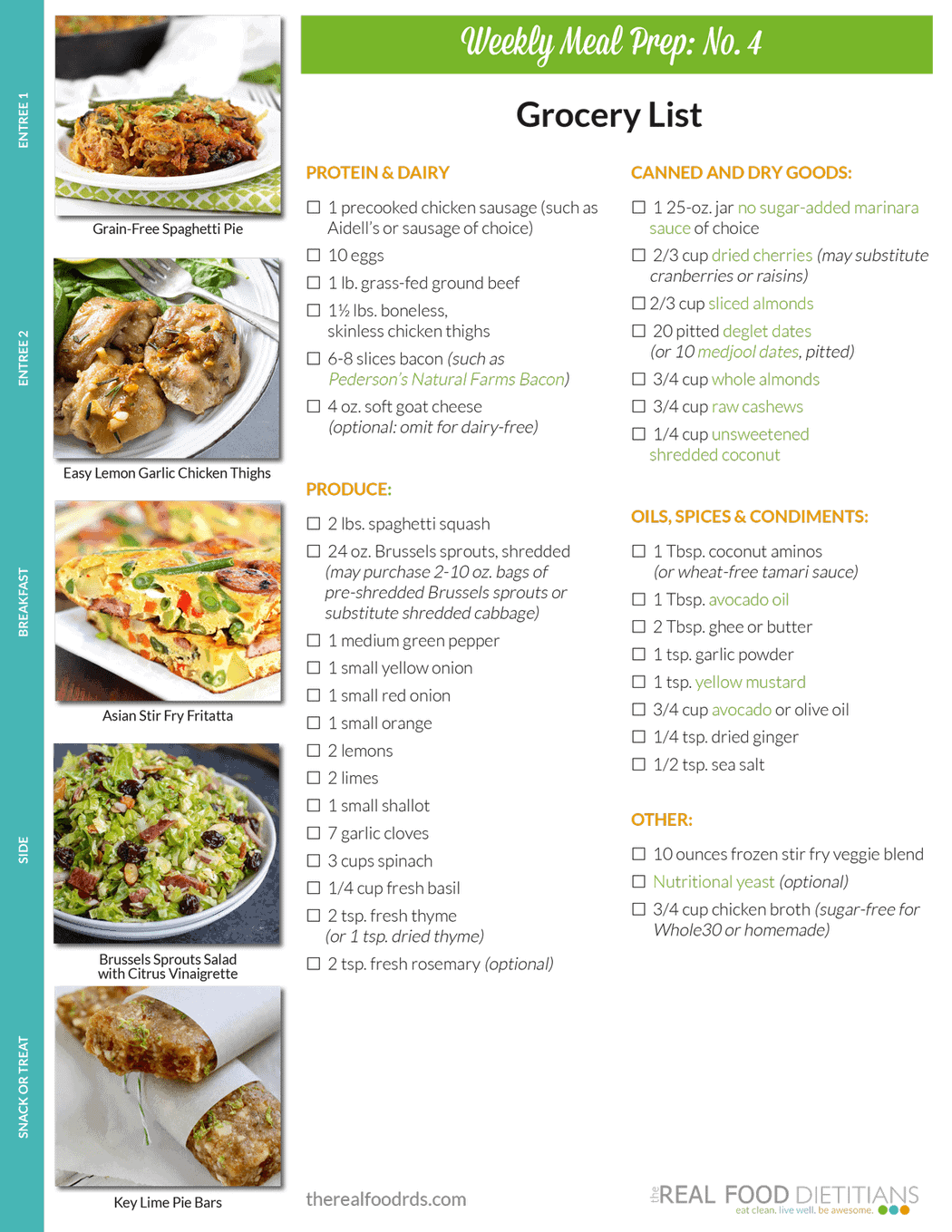 Weekly Meal Prep Menu: No. 4 | The Real Food Dietitians | Https: