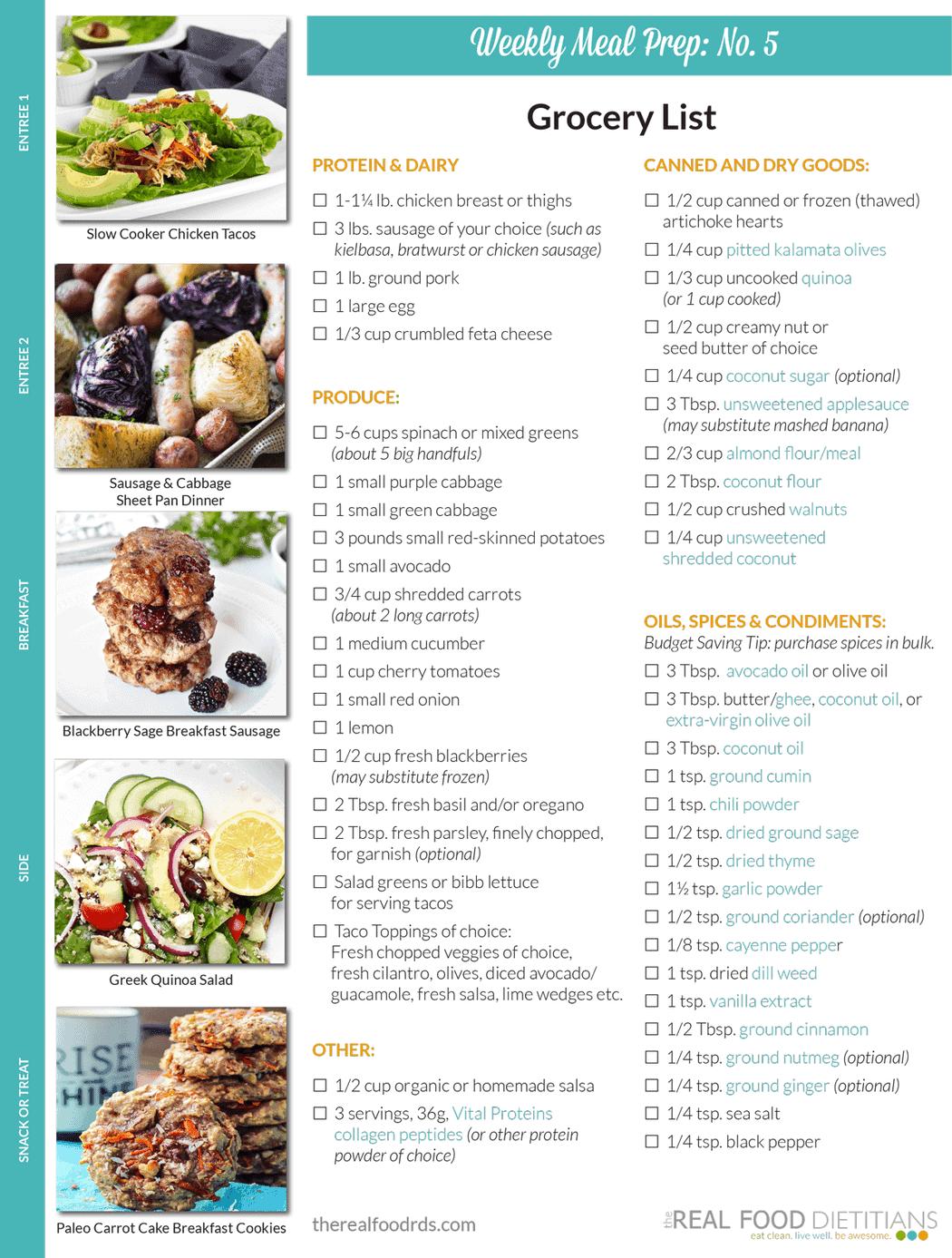 Weekly Meal Prep Menu: No. 5 - The Real Food Dietitians