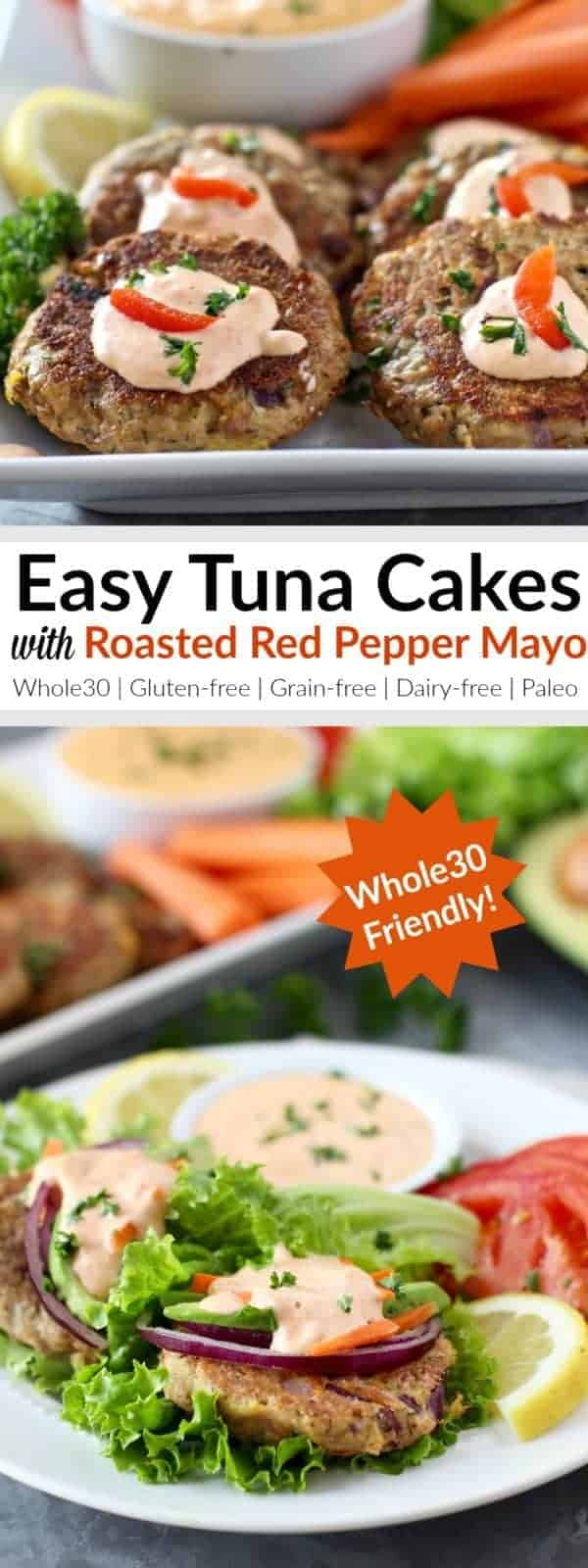 Put food on the table in less than 30 minutes with these Whole30-friendly, Easy Tuna Cakes that are topped with a 3-ingredient Roasted Red Pepper Mayo. A recipe that's fast, healthy and delicious and one that everyone will love! | Whole30 | Paleo | Grain-free | Gluten-free | Dairy-free | https://therealfoodrds.com/easy-tuna-cakes/