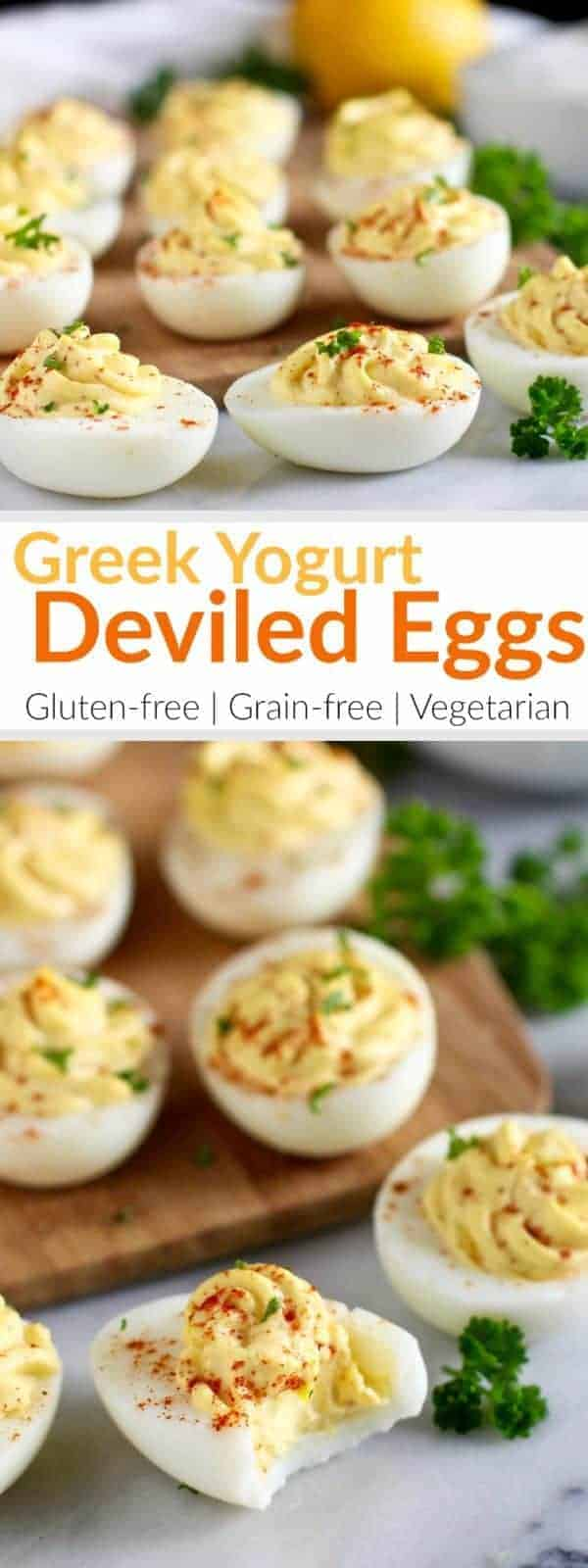 Tangy and thick Greek yogurt takes the place of mayo in our Greek Yogurt Deviled Eggs which consists of just 5 simple ingredients. | Gluten-free | Vegetarian | https://therealfoodrds.com/greek-yogurt-deviled-eggs/