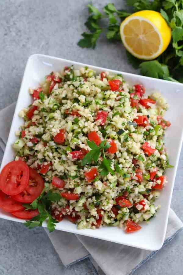 Cauliflower Tabbouleh Salad | The Real Food Dietitians | https://therealfoodrds.com/cauliflower-tabbouleh-salad/