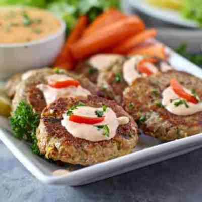 Easy Tuna Cakes with Roasted Red Pepper Mayo