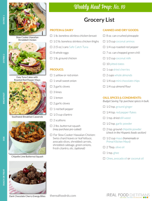 Weekly Meal Prep Menu: No. 10 | The Real Food Dietitians | http://therealfoodrds.com/weekly-meal-prep-menu-no-10/