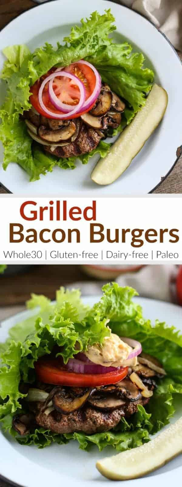 Banish boring burgers with these mouthwatering and insanely tender Grilled Bacon Burgers! | https://therealfoodrds.com/grilled-bacon-burgers/