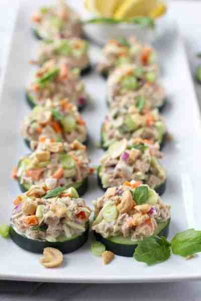 Cucumber Bites | 30 Whole30 Appetizers | healthy appetizer recipes | whole30 approved appetizers | gluten-free appetizers | easy healthy appetizers || The Real Food Dietitians #whole30appetizers #whole30recipes #healthyappetizers