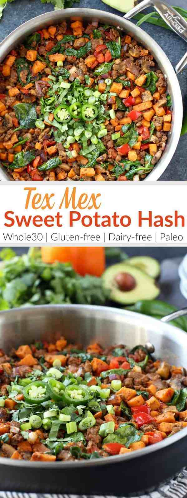 Make good use of taco meat leftovers by giving this easy Sweet Potato Tex Mex Hash recipe a try. A tasty Whole30 and egg-free breakfast option.| https://therealfoodrds.com/tex-mex-sweet-potato-hash/