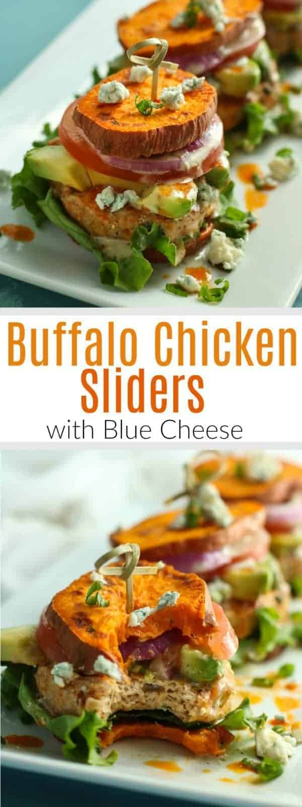 Buffalo Chicken Sliders | Buffalo wings meets sweet potato fries in these Buffalo Chicken Sliders! Serve with sliced onions, tomato, leaf lettuce and avocado, if desired. The Real Food Dietitians | http://therealfoodrds.com/buffalo-chicken-sliders/