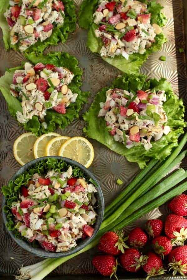 Strawberry Chicken Poppy Seed Salad | The Real Food Dietitians | https://therealfoodrds.com/strawberry-chicen-poppy-seed-salad/
