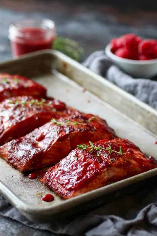 Raspberry Balsamic Glazed Salmon (Whole30)