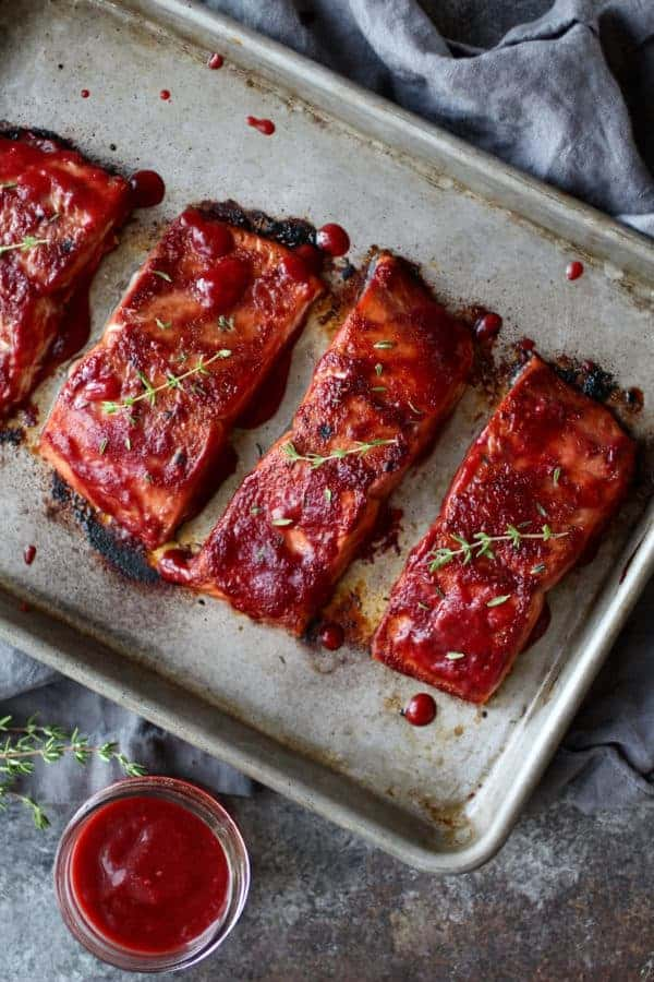 Raspberry Balsamic Glazed Salmon (Whole30) | The Real Food Dietitians | https://therealfoodrds.com/raspberry-balsamic-glazed-salmon-whole30/
