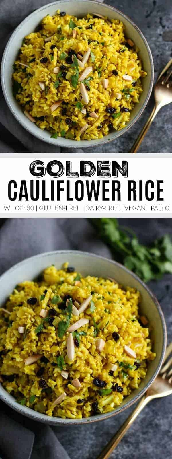 Golden Cauliflower Rice | how to cook cauliflower rice | cauliflower rice recipes | whole30 side dishes | gluten-free side dishes | dairy-free side dishes | vegan side dishes | paleo side dishes | gluten-free cauliflower rice | whole30 recipe ideas || The Real Food Dietitians #whole30recipes
