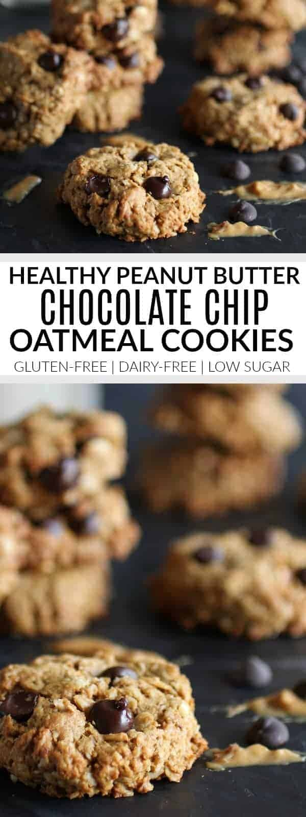Healthy Peanut Butter Chocolate Chip Oatmeal Cookies | gluten-free cookie recipes | dairy-free cookie recipes | low sugar cookie recipes | healthy chocolate chip cookie recipes | peanut butter chocolate chip cookie recipe || The Real Food Dietitians #glutenfreecookies #dairyfreecookies #lowsugarcookies