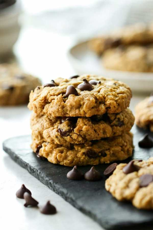 Stack of three Healthy Peanut Butter Oatmeal Cookies with Chocolate Chips