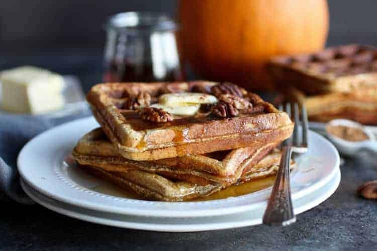 Paleo Pumpkin Spice Protein Waffles