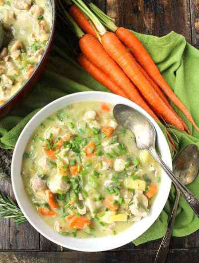 Chicken Pot Pie Soup from Jays Baking Me Crazy | 30 Whole30 Soups, Stews & Chilis | healthy soup recipes | whole30 meal ideas | whole30 recipes | whole30 chili recipes || The Real Food Dietitians #whole30soups #whole30recipe #whole30meals