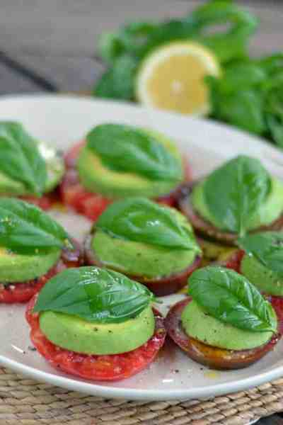 Avocado Caprese Salad | 30 Whole30 Appetizers | healthy appetizer recipes | whole30 approved appetizers | gluten-free appetizers | easy healthy appetizers || The Real Food Dietitians #whole30appetizers #whole30recipes #healthyappetizers