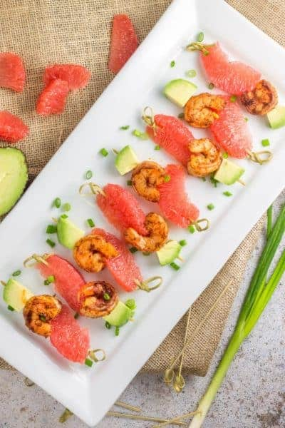 Blackened Shrimp Grapefruit Skewers | 30 Whole30 Appetizers | healthy appetizer recipes | whole30 approved appetizers | gluten-free appetizers | easy healthy appetizers || The Real Food Dietitians #whole30appetizers #whole30recipes #healthyappetizers