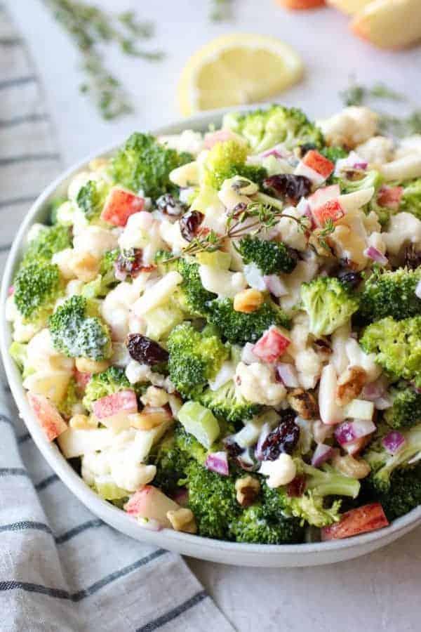 Apple Broccoli Cauliflower Salad