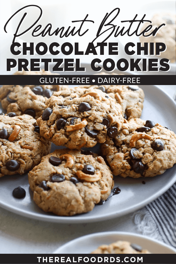 Pin image for Peanut Butter Chocolate Chip Pretzel Cookies