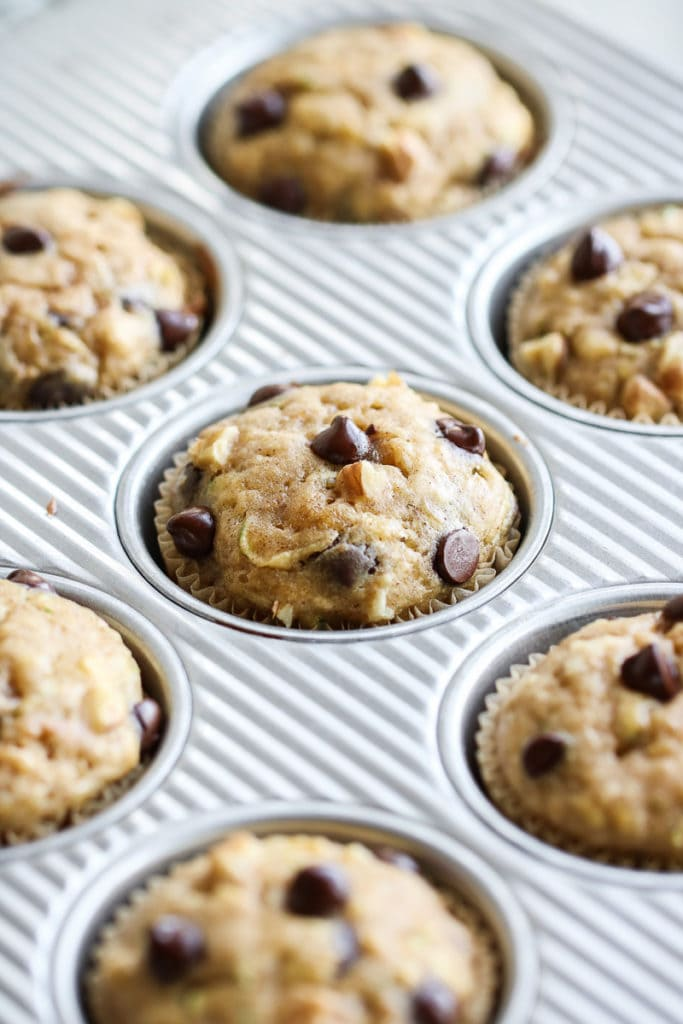 Photo of Gluten-free Chocolate Chip Zucchini Muffins in the pan after coming out of the oven.