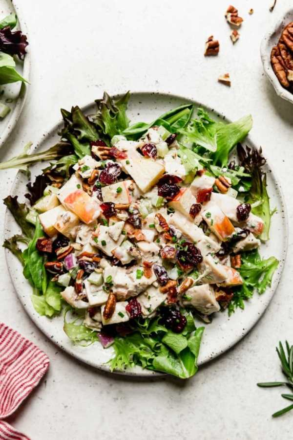 Cranberry Chicken Salad with Apples on a white plate served over a bed of greens.
