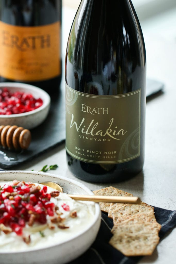 Bottle of Erath wine to serving with Goat Cheese Dip