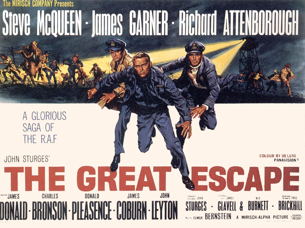 A poster of the The Great Escape (1963). Starring Steve McQueen, James Garner, and Richard Attenborough