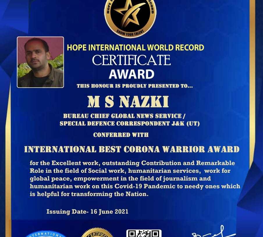 Nazki Gets Another International Best Corona Warrior Award