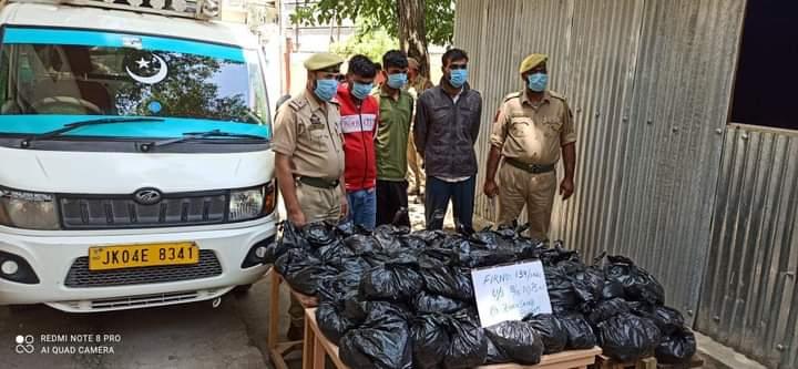 Budgam Police Arrests 03 More Drug Peddlers; 55 Kgs of Contraband Substance Recovered