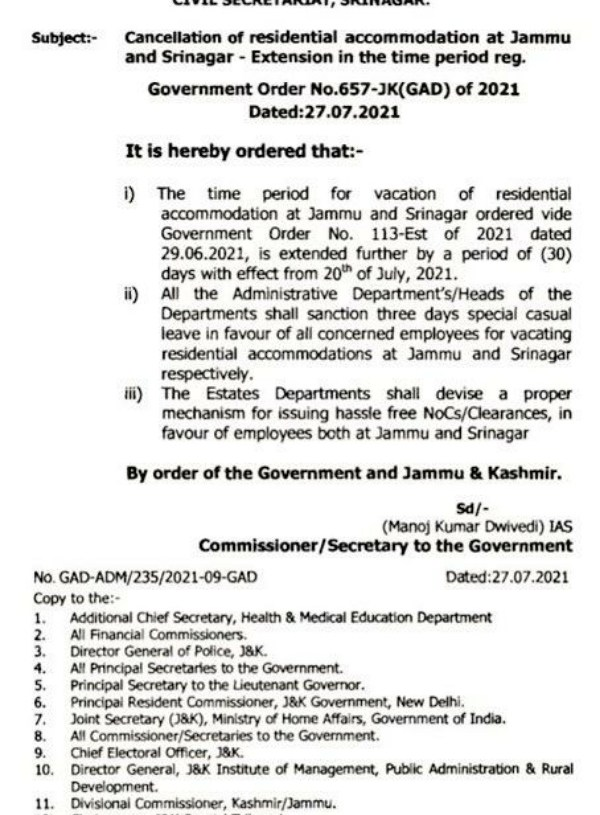 Government extended time period for vacation of residential accommodation at J&K by 'Darbar Move' employees