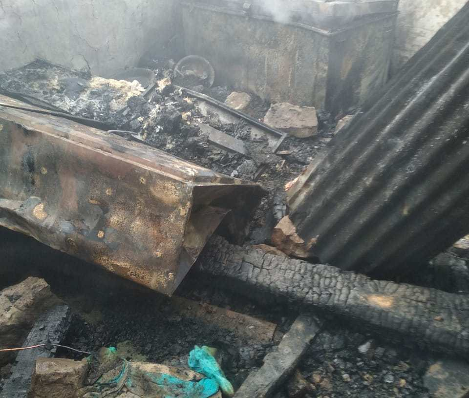 Residential House Gutted in overnight blaze at Mendhar Poonch