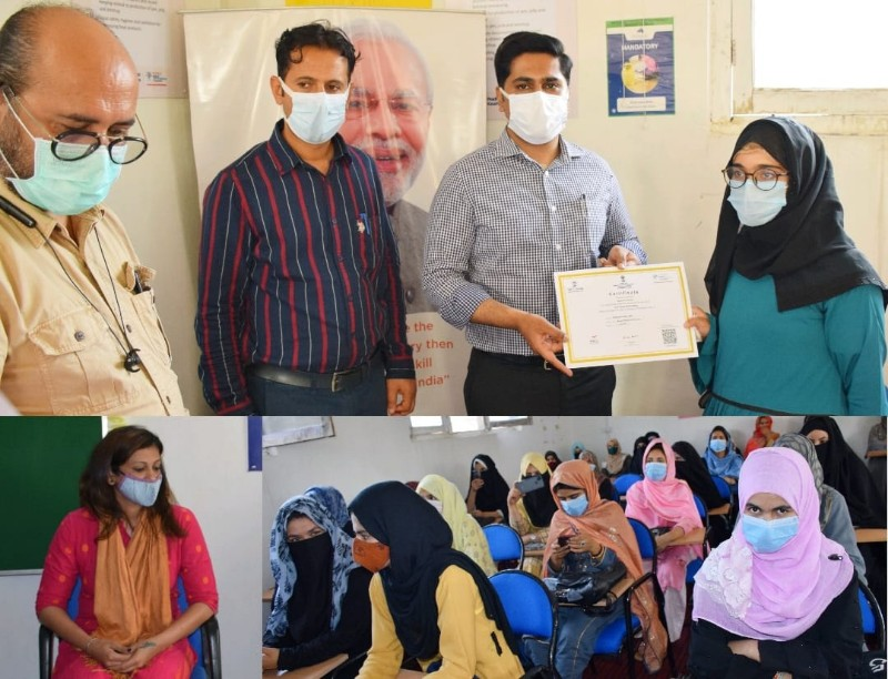 DC Bandipora distributes course completion certificates among students under PMKVY.260 students completed courses under PMKVY