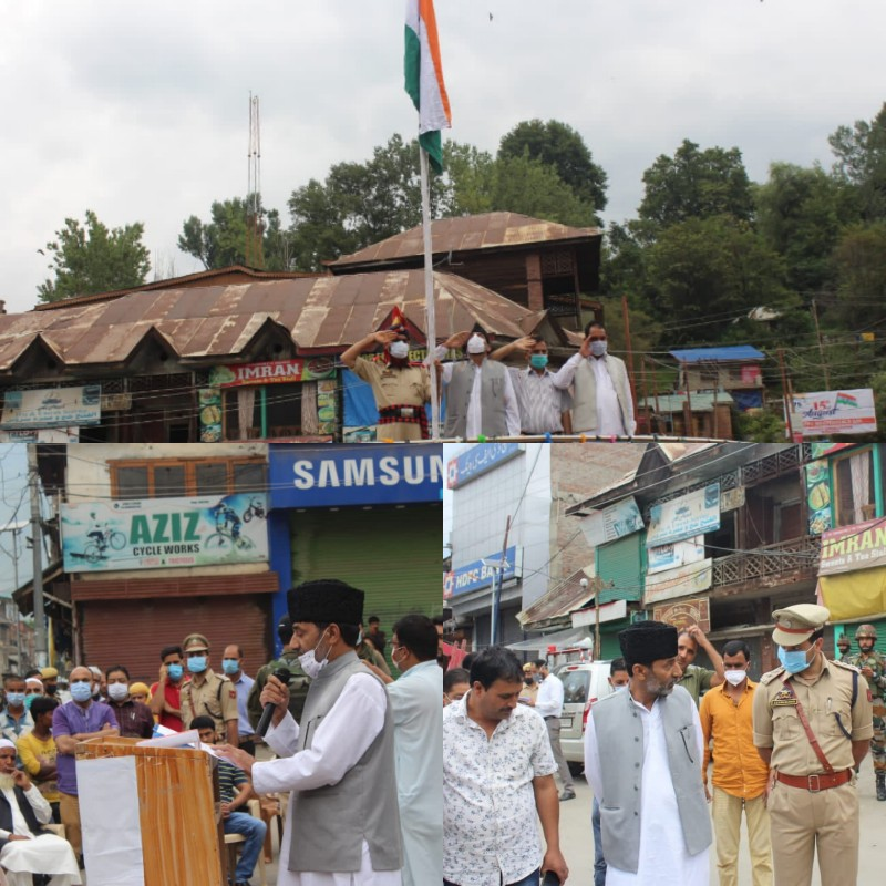 Municipal Council Chairman Bandipora Khurshed Ahmad unfurls National Flag on 75th Independence Day function held at Gulshan Chowk Bandipora.