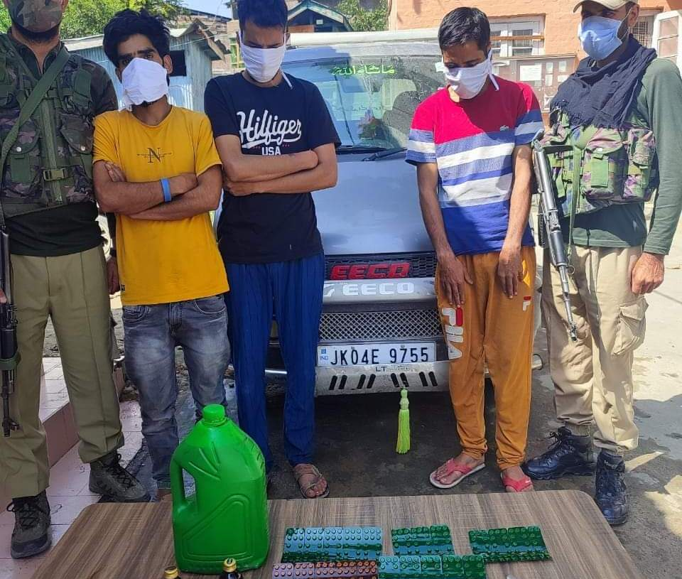 Budgam Police arrests 03 Notorious Drug Peddlers; Contraband substance recovered