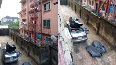 Photo of Horror as water tank crashes on car