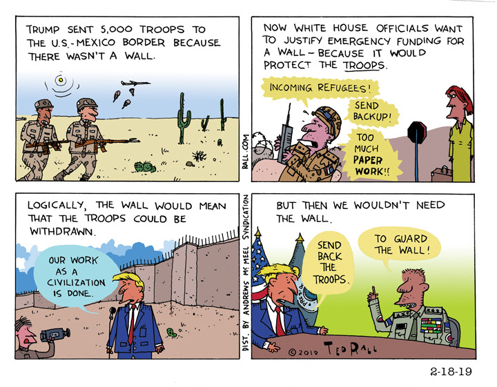 Trumps border wall logic cartoon