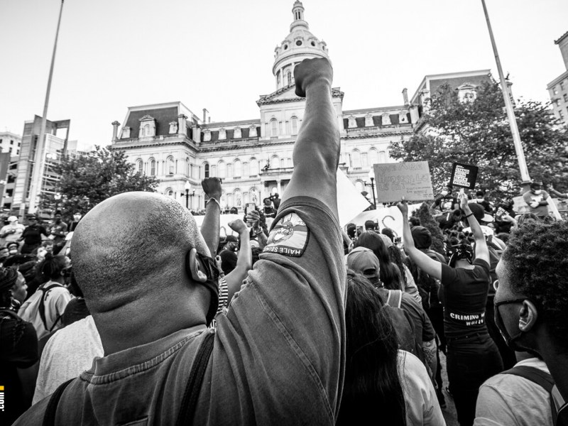 protesters in Baltimore City