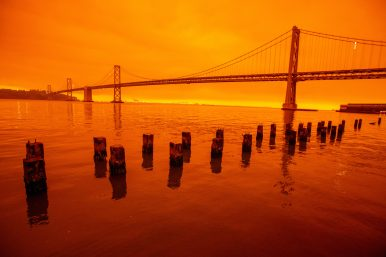 Smoky skies from northern California wildfires cast a reddish color in San Francisco, Calif., on Wednesday, Sept. 9, 2020. Ray Chavez/MediaNews Group/The Mercury News via Getty Images