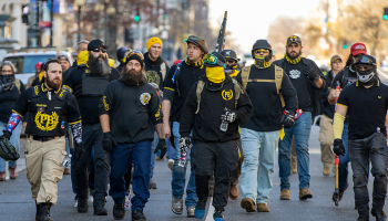 Proud Boys gather in support of Donald Trump
