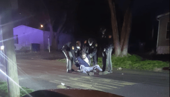 An image of an arrest from video taken by Anthony Holbrook
