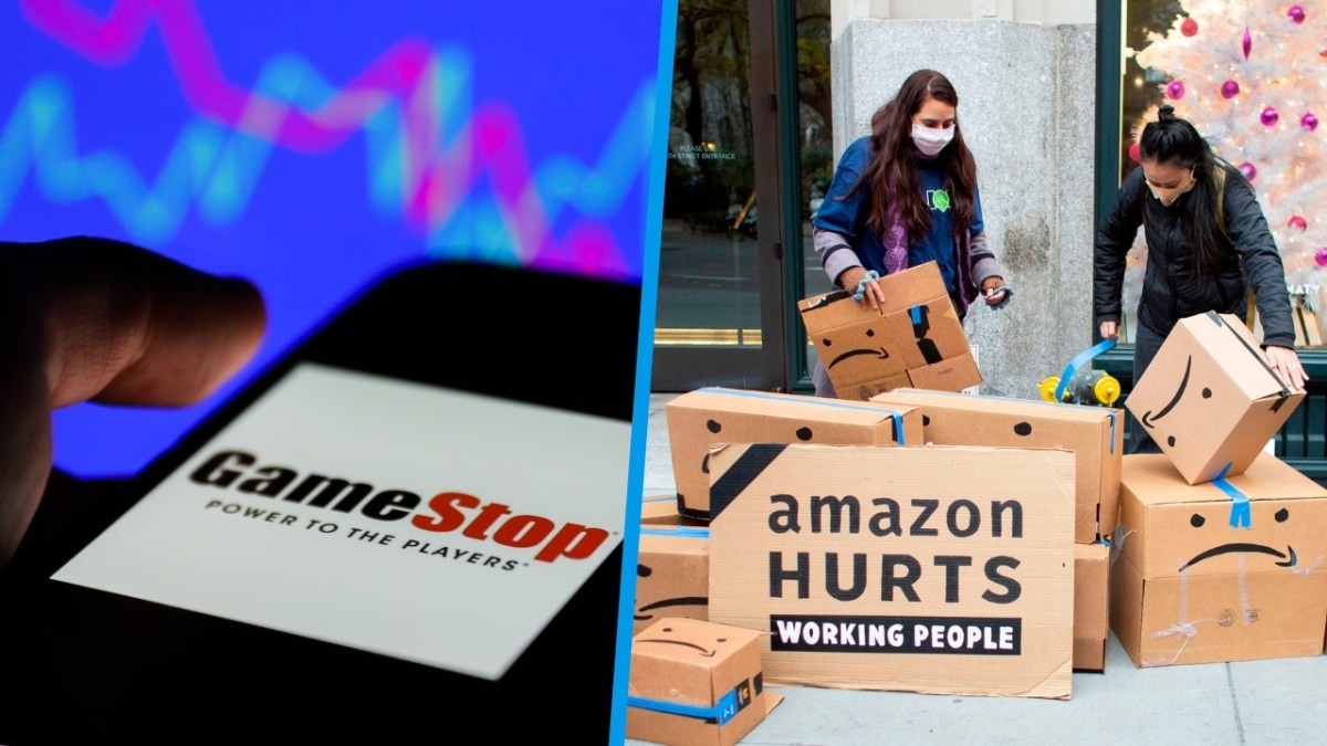"""Cell phone with GameStop logo in front of a stock market graph/People demonstrating with a sign saying """"Amazon hurts working people"""""""