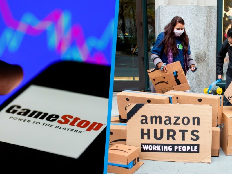 "Cell phone with GameStop logo in front of a stock market graph/People demonstrating with a sign saying ""Amazon hurts working people"""