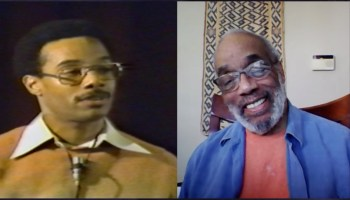 Left: Charlie Cobb speaks at Maryland Penitentiary in 1980; Right: Charlie Cobb in conversation with Eddie Conway