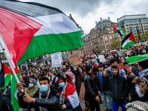 a demonstration in solidarity with the people of Palestine organized in the center of Amsterdam