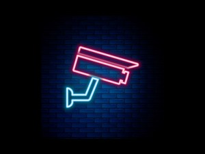 Image of a neon sign shaped like a surveillance camera