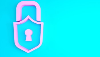 A neon pink lock on a blue background