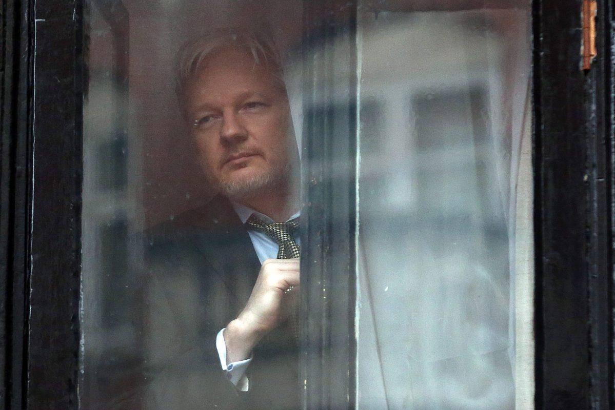 Wikileaks founder Julian Assange looks out through a window of the Ecuadorian embassy in London