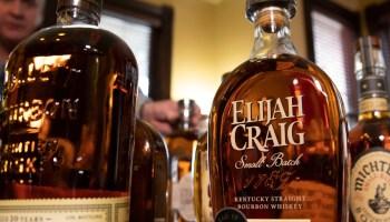 Bottles of Kentucky bourbon whiskey