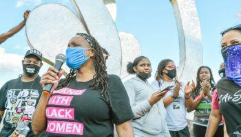 Kentucky State Representative Attica Scott, addresses Black Lives Matter demonstrators